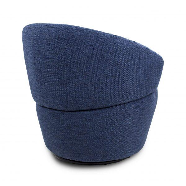 Dance Swivel Chair in Blue Fabric, Back