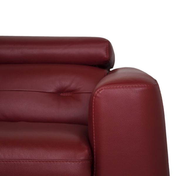 Denman Sectional in Red Leather, Close Up