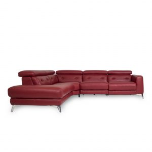Denman Sectional in Red Leather, SL