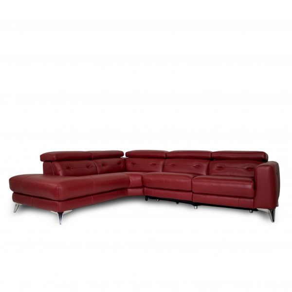 Denman Sectional in Red Leather, Angle, SL