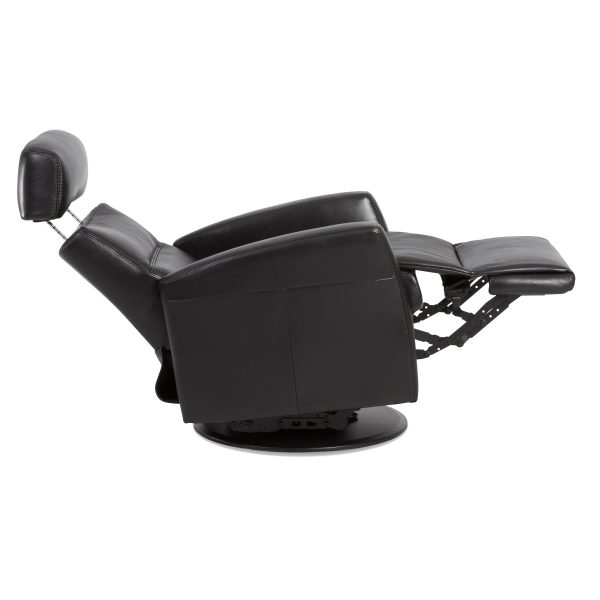 IMG Divani Recliner in Trend Tuxedo, Side Profile, Reclined and Headrest Angled