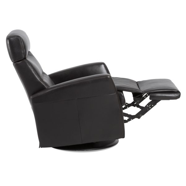 IMG Divani Recliner in Trend Tuxedo, Side Profile, Footrest Out
