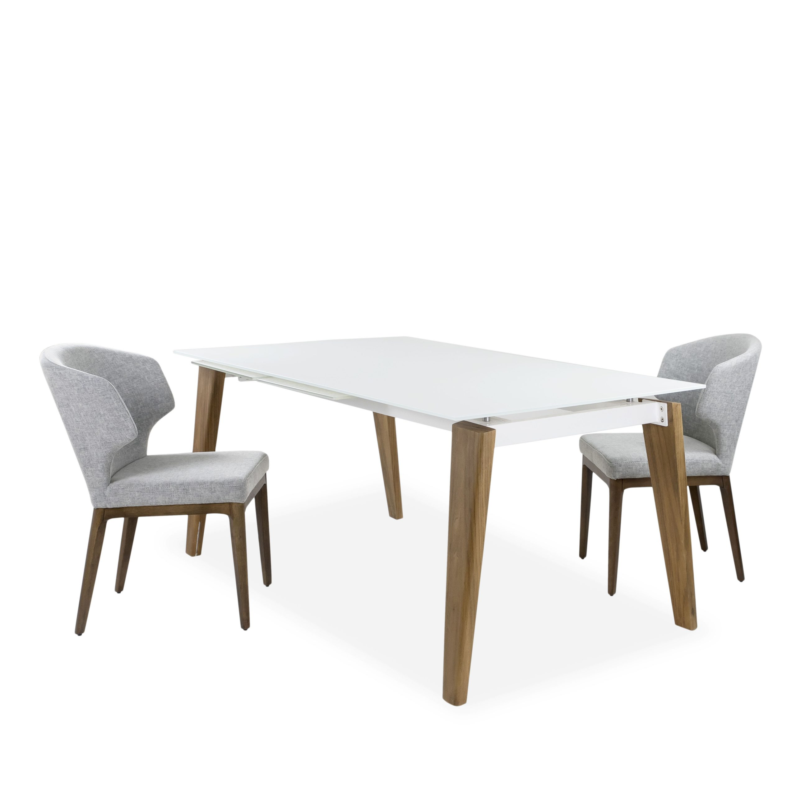 Dover Dining Table in Walnut with Shale Grey Blake Dining Chair