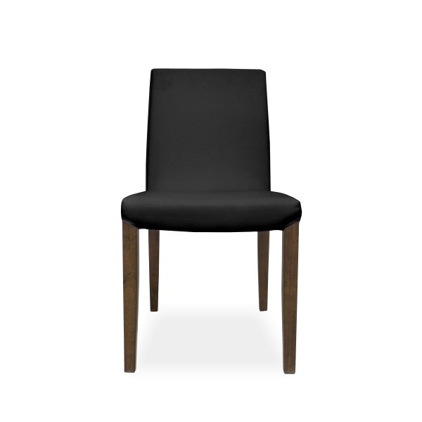 Earl Dining Chair in Black Vinyl with Walnut Legs, Front