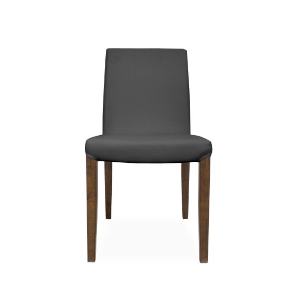 Earl Dining Chair in Grey Vinyl with Walnut Legs, Front