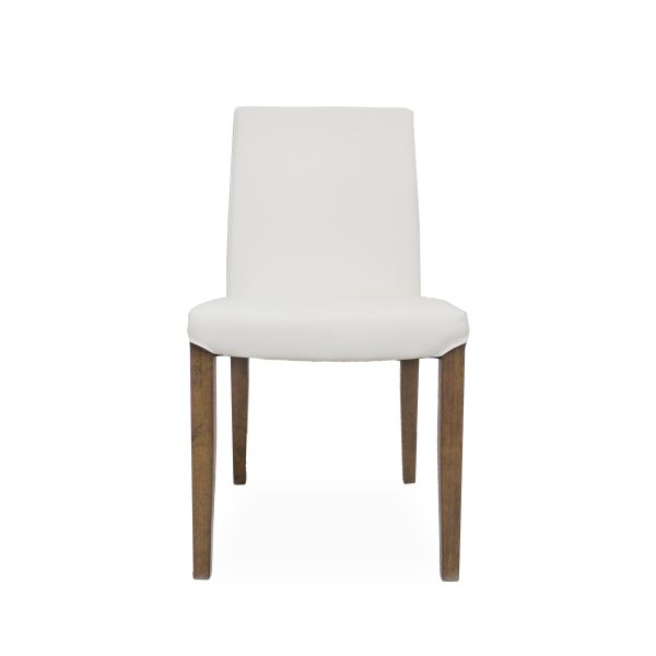 Earl Dining Chair in White Vinyl with Walnut Legs, Front