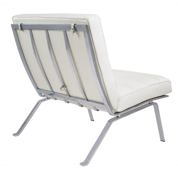 Firenze III Chair in White Leather, Back