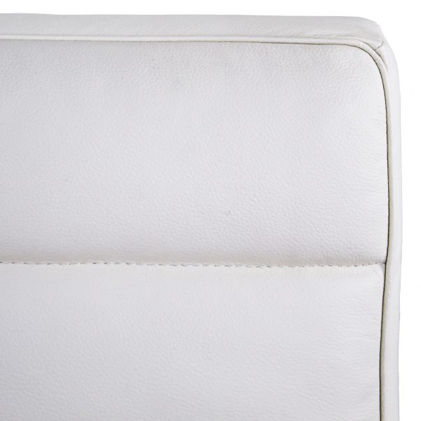 Firenze III Chair in White Leather, Close Up