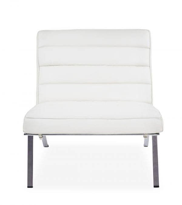 Firenze III Chair in White Leather, Front