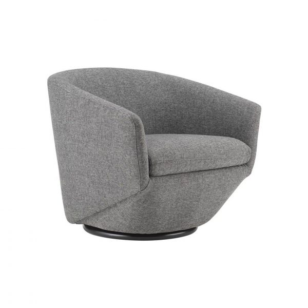 Geneva Chair in Light Grey Fabric, Angle