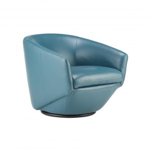 Geneva Chair in Turquoise Leather, Angle