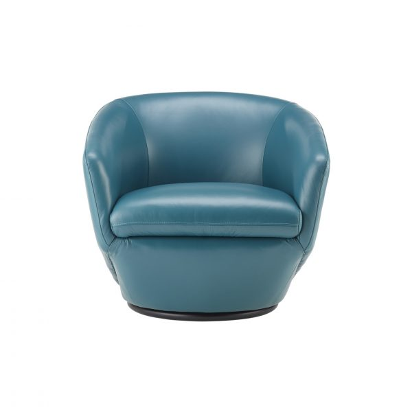 Geneva Chair in Turquoise Leather, Front