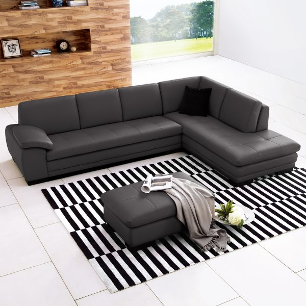 Hilo Sectional in Dark Grey NL Leather in Living Room