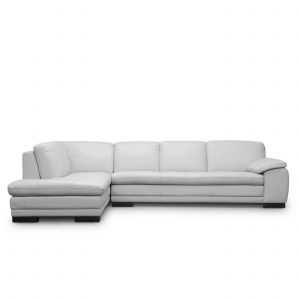 Hilo Sectional in White Leather, Straight, SL