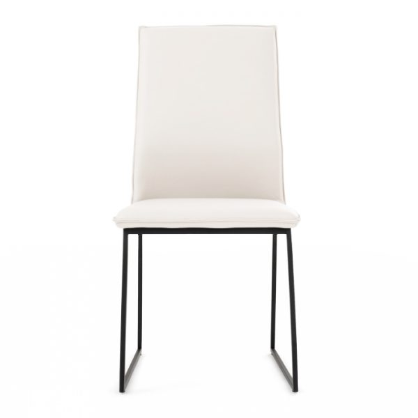 Lara Dining Chair in White Leather, Front