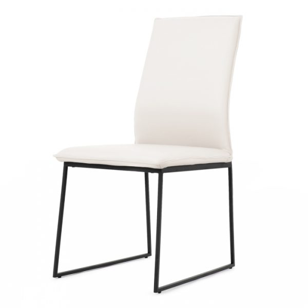 Lara Dining Chair in White Leather, Angle