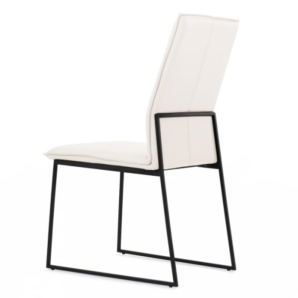 Lara Dining Chair in White Leather, Back