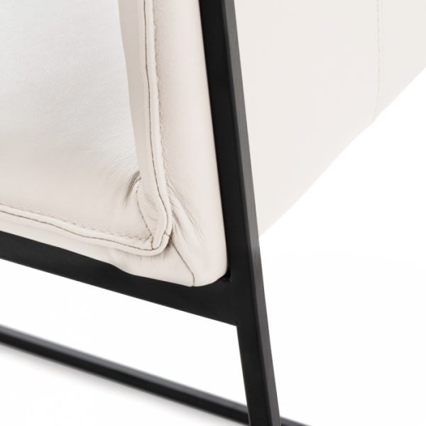 Lara Dining Chair in White Leather, Close Up