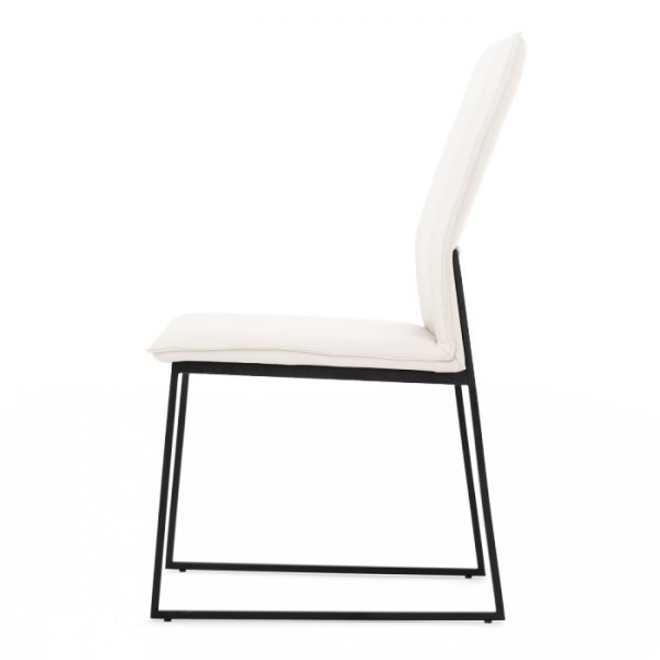 Lara Dining Chair in White Leather, Side