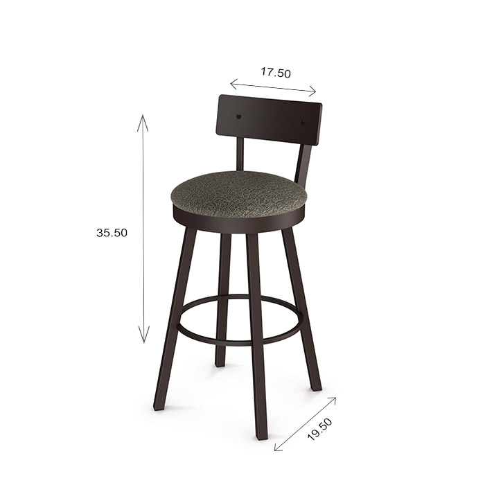 Amisco Lauren Swivel Counter Stool Dimensions