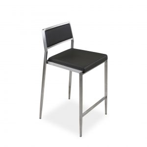 Link Counter Stool in Grey Leather, Side Profile