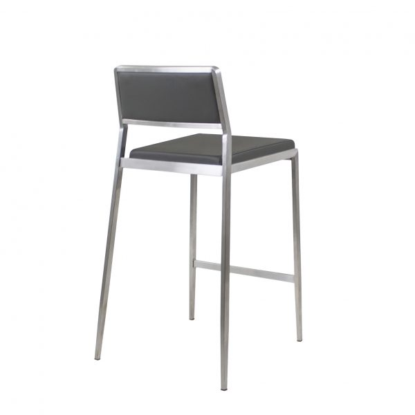 Link Counter Stool in Grey Leather, Back