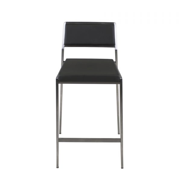Link Counter Stool in Grey Leather, Front