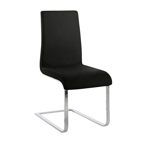 Maddox Dining Chair in Black Vinyl, Angle