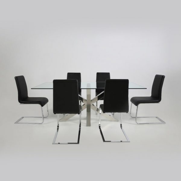 Maddox Dining Chair in Black Vinyl around Dining Table