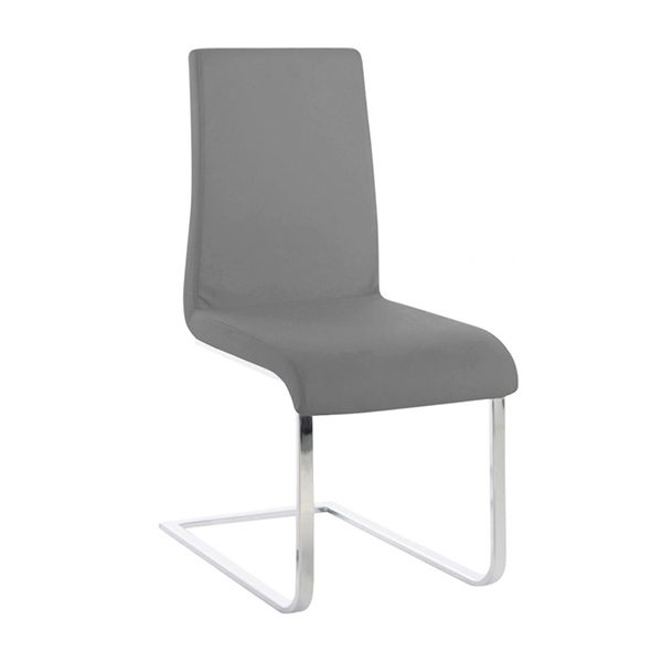 Maddox Dining Chair in Grey Vinyl, Angle