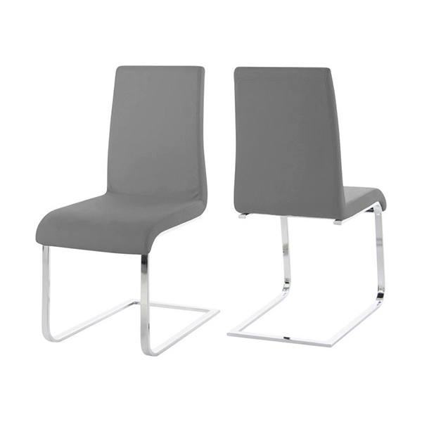 Maddox Dining Chair in Grey Vinyl, Front Back
