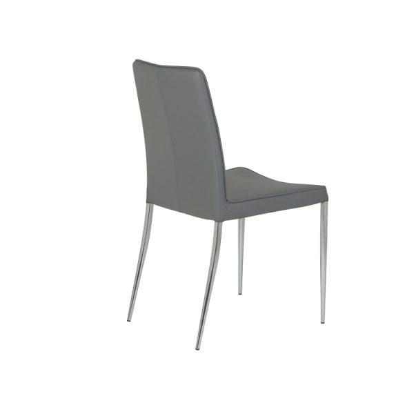 Monica Dining Chair in Grey Vinyl, Back