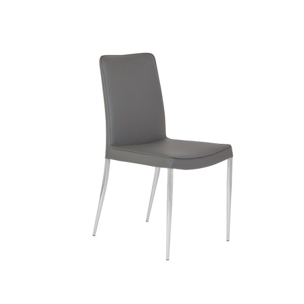 Monica Dining Chair in Grey Vinyl, Angle