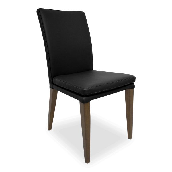 Nate Dining Chair in Black Leather, Angle