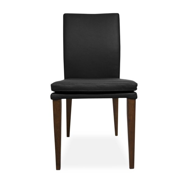 Nate Dining Chair in Black Leather, Front