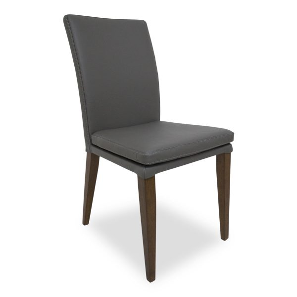 Nate Dining Chair in Grey Leather, Angle