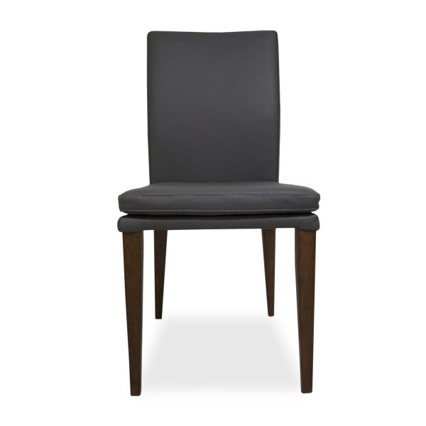 Nate Dining Chair in Grey Leather, Front