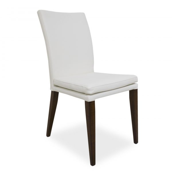 Nate Dining Chair in White Leather, Angle