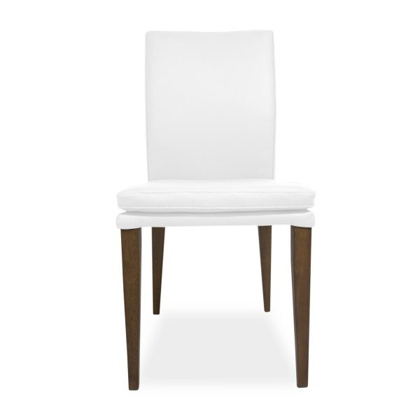 Nate Dining Chair in White Leather, Front