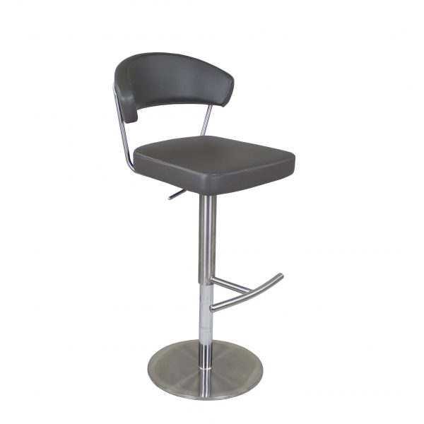 Russ Counter Stool in Grey Vinyl, Side