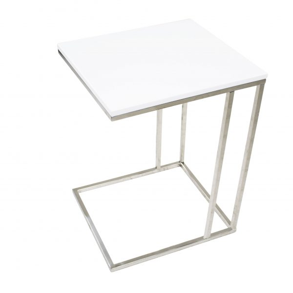 Solara Table White Lacquer, Side Profile