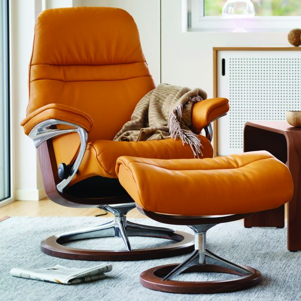 Stressless Sunrise Signature Recliner and Ottoman with a Walnut Base