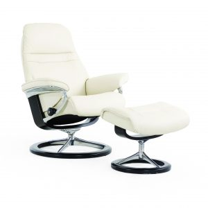 Stressless Sunrise Signature Recliner and ottoman in Paloma Light Grey Leather with a black wood base