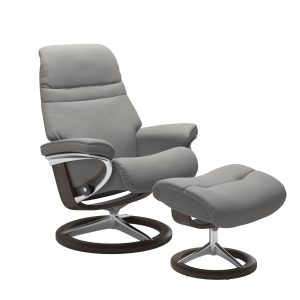 Stressless Sunrise Signature in Paloma Silver Grey, Front