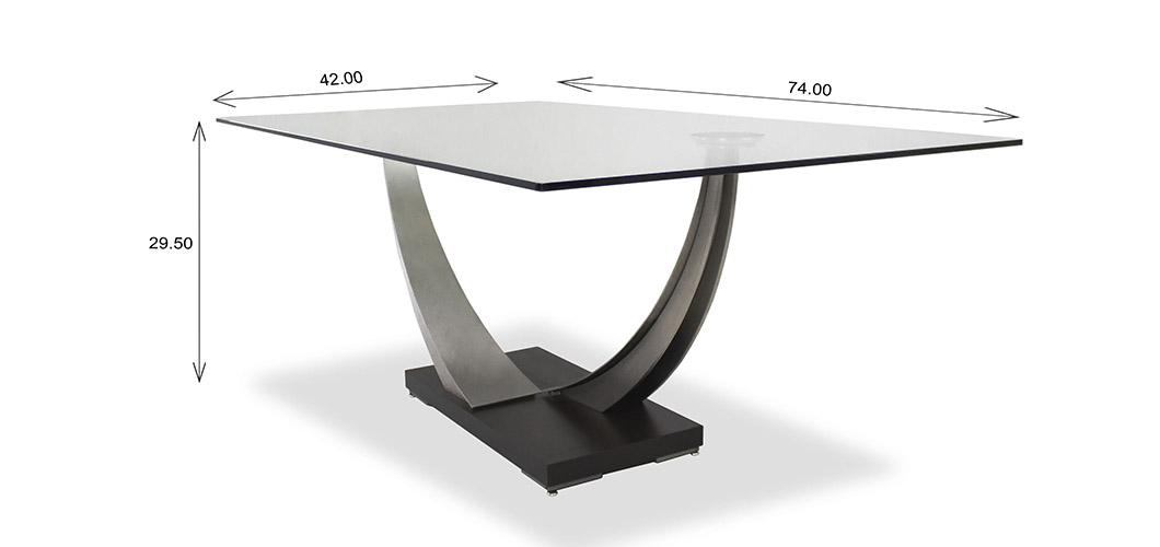 Elite Modern Tangent Dining Table Dimensions