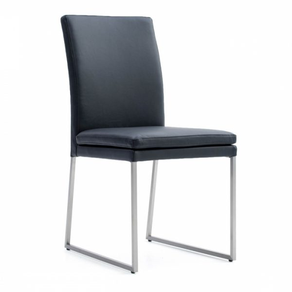 Tess Dining Chair in Black Leather, Angle