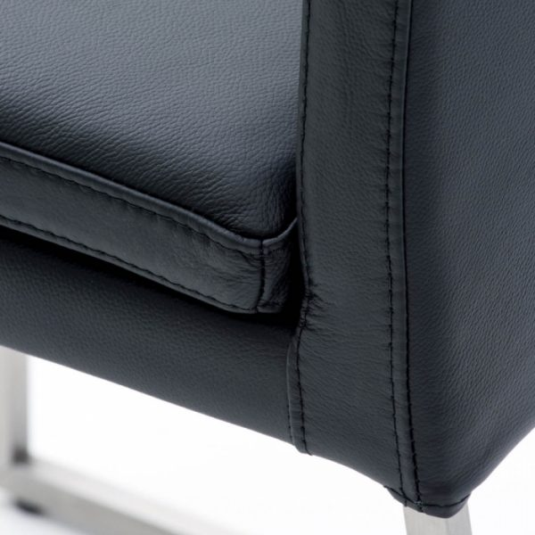 Tess Dining Chair in Black Leather, Close Up