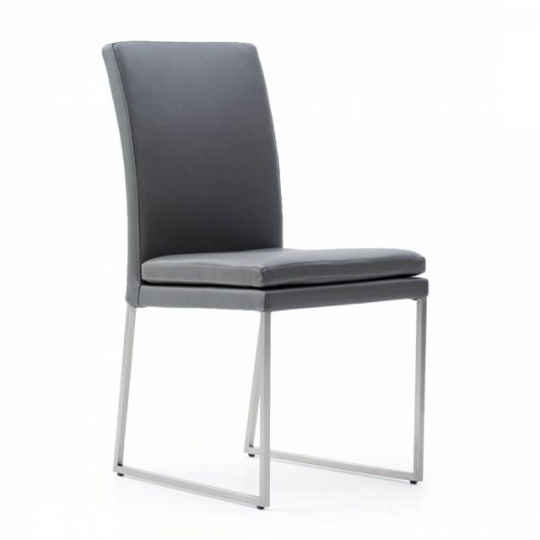 Tess Dining Chair in Grey Leather, Angle