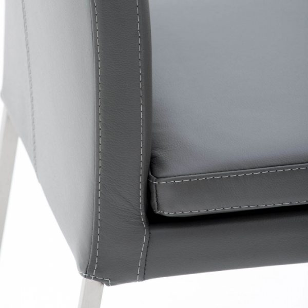 Tess Dining Chair in Grey Leather, Close Up
