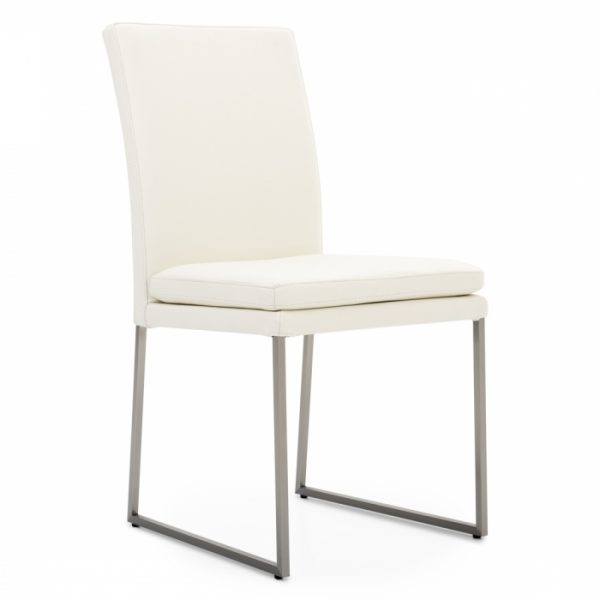 Tess Dining Chair in White Leather, Angle